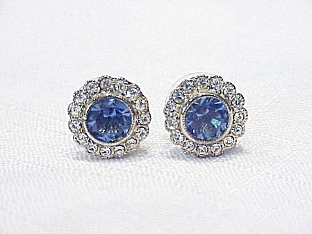 BEAUTIFUL BLUE AND CLEAR RHINESTONE PIERCED EARRINGS (Image1)
