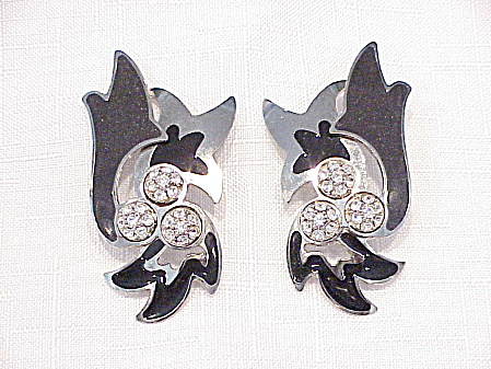 Berebi Large Black Enamel And Rhinestone Silver Tone Pierced Earrings
