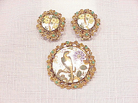 VINTAGE LJM GUILLOCHE ENAMEL BROOCH AND CLIP EARRINGS SET (Image1)