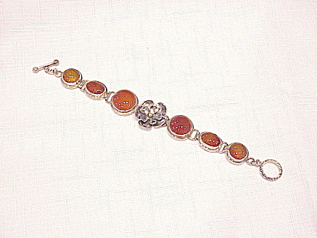 Sterling Silver And Agate Cabachon Bracelet With Flower