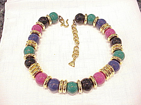 LIZ CLAIBORNE PINK, BLUE, GREEN AND BLACK BEAD CHOKER NECKLACE (Image1)