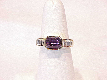 18k Gold Electroplate Amethyst And Clear Rhinestone Ring