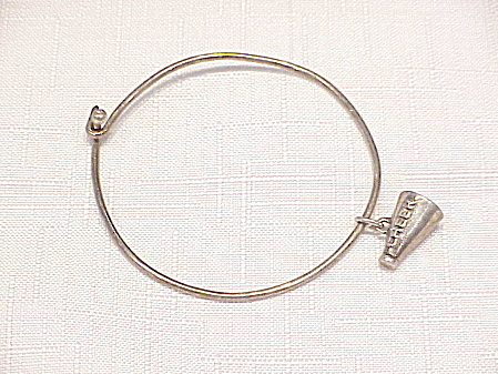 Sterling Silver Bangle Bracelet With Cheerleader Megaphone Charm