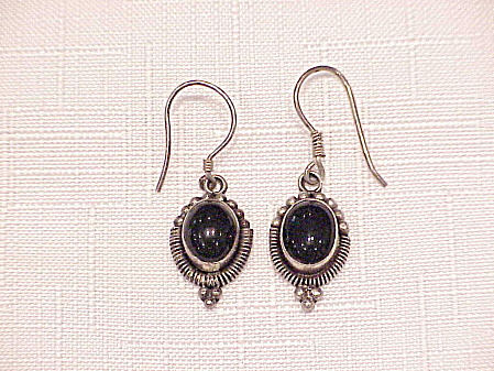 Dangling Sterling Silver And Black Onyx Pierced Earrings