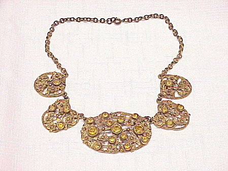 ANTIQUE VICTORIAN EDWARDIAN ART NOUVEAU AMBER RHINESTONE NECKLACE (Image1)