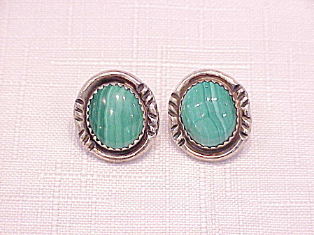 Sterling Silver & Malachite Pierced Earrings Signed St