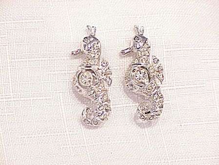 Vintage Pair Of Rhinestone Seahorse Scatter Pins Or Brooches