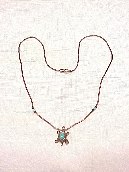 Native American Liquid Silver Bead And Turquoise Turtle Necklace