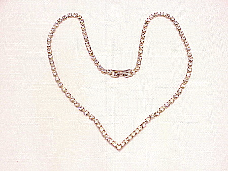 VINTAGE CLEAR RHINESTONE CHOKER NECKLACE (Image1)