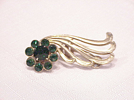 Vintage Coro Emerald Green Rhinestone Dress Clip Or Brooch