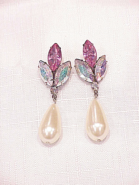 AURORA BOREALIS RHINESTONE AND DANGLING PEARL PIERCED EARRINGS (Image1)