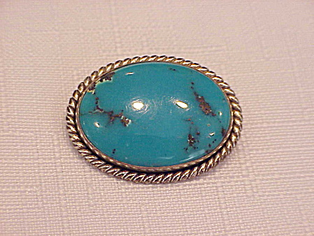Native American Sterling Silver Turquoise Brooch Signed Jp