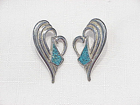 Silver Tone And Inlaid Turquoise Heart Earrings Signed Sw 89