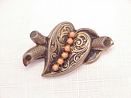 ANTIQUE VICTORIAN STERLING SILVER AND CORAL BROOCH SIGNED RODE' (Image1)
