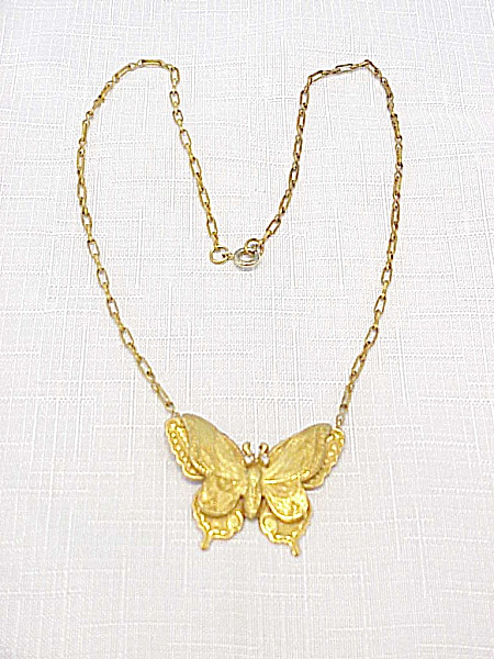 VINTAGE ART NOUVEAU BRASS BUTTERFLY CHOKER NECKLACE (Image1)