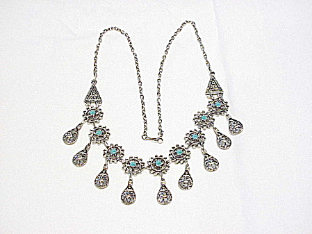 Silver Tone Filigree And Turquoise Enamel Fringe Necklace