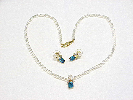 BLUE RHINESTONE SLIDE PEARL NECKLACE AND PIERCED EARRINGS SET (Image1)