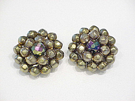 Vintage Austria Gold Bead And Aurora Borealis Crystal Clip Earrings