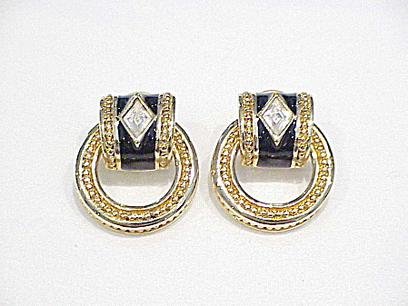 Swarovski Gold Tone And Black Enamel Rhinestone Pierced Earrings
