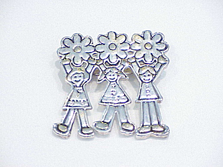Children And Flowers Brooch Or Pendant Signed Mj