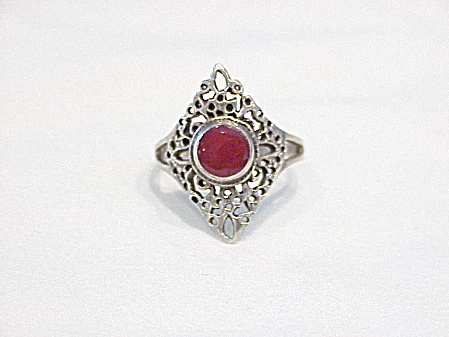 Sterling Silver Filigree Carnelian Ring Size 6-1/2