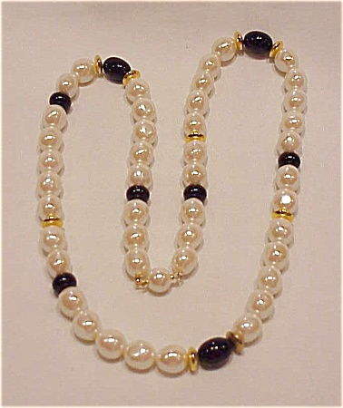 Vintage Costume Jewlery - Baroque Pearl & Black Glass Bead Necklace