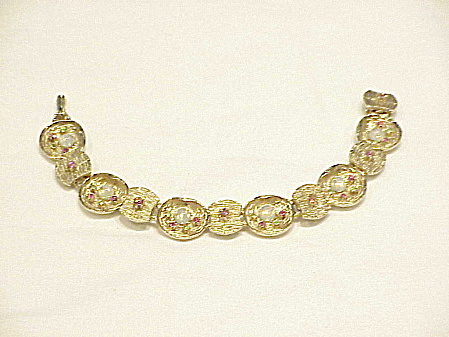 Vintage Gold Tone Faux Opal And Rhinestones Bracelet
