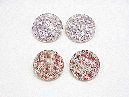 2 PAIRS OF VINTAGE CONFETTI LUCITE CLIP EARRINGS (Image1)