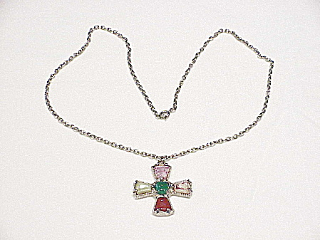 VINTAGE SILVER TONE NECKLACE WITH GLASS AGATE STONES PENDANT (Image1)