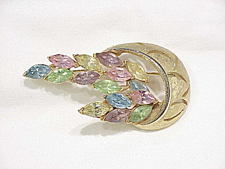 Vintage Gold Tone Brooch With Pastel Rhinestone Navettes