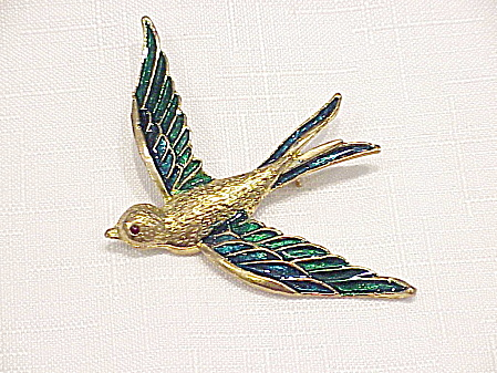 BLUE AND GREEN ENAMEL ON GOLD TONE BIRD BROOCH  (Image1)