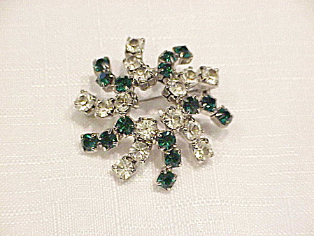 VINTAGE DARK GREEN AND CLEAR RHINESTONE SWIRL BROOCH (Image1)