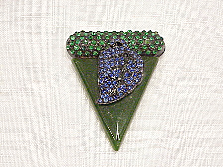 VINTAGE ART DECO SIGNED BAKELITE DRESS CLIP BLUE & GREEN RHINESTONES (Image1)