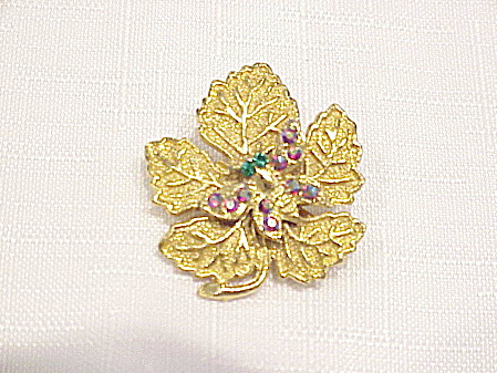 Vintage Rhinestone Butterfly On Gold Tone Leaf Brooch