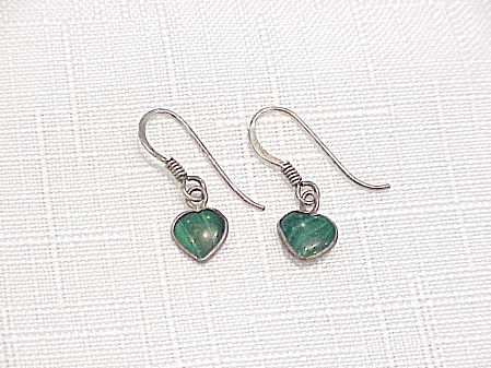 Dangling Sterling Silver And Malachite Heart Pierced Earrings