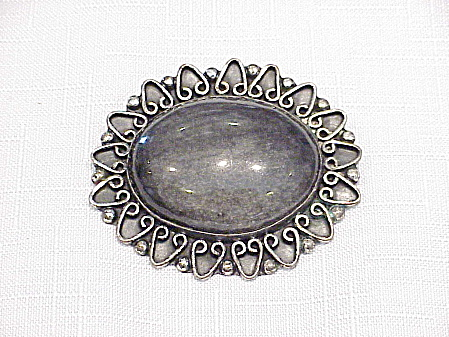 CASTANEDA TAXCO MEXICAN STERLING SILVER FOSSIL STONE BROOCH PENDANT (Image1)