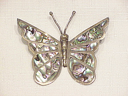 VINTAGE MEXICAN STERLING SILVER ABALONE LARGE BUTTERFLY BROOCH (Image1)