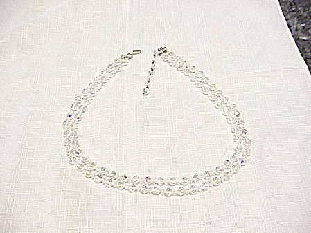 VINTAGE LONG DOUBLE STRAND AURORA BOREALIS CRYSTAL NECKLACE (Image1)