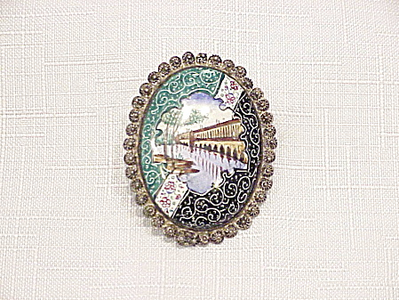 Vintage Middle Eastern Asian Enamel Sterling Silver Filigree Brooch