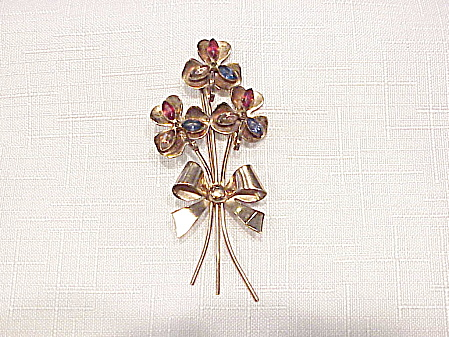 Vintage Coro Sterling Silver Vermeilrhinestone Flowers With Bow Brooch
