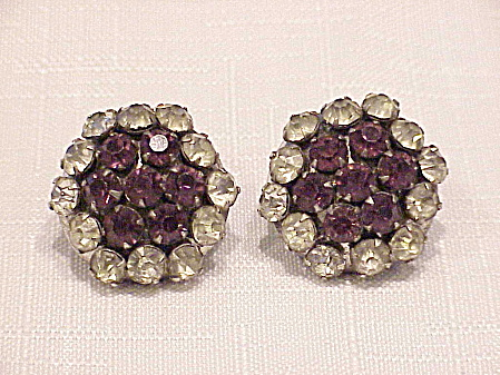 VINTAGE STERLING SILVER AMETHYST RHINESTONE SCREWBACK EARRINGS (Image1)