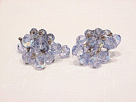 Vintage Dangling Blue Aurora Borealis Crystal Cluster Clip Earrings