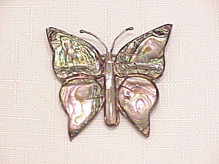 VINTAGE ACL TAXCO MEXICO STERLING SILVER ABALONE BUTTERFLY BROOCH (Image1)