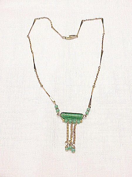 Vintage Art Deco Necklace With Dangling Green Glass Beads