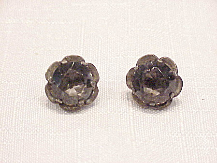 Vintage Mexican Sterling Silver Smoke Rhinestone Screwback Earrings