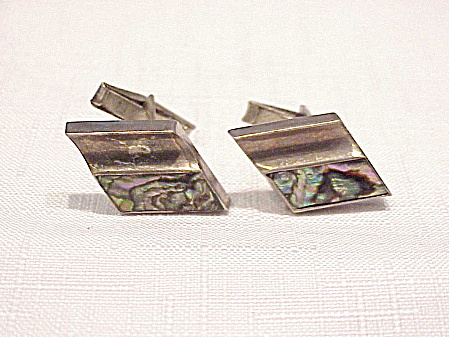 VINTAGE TAXCO MEXICAN STERLING SILVER ABALONE CUFFLINKS SIGNED TLR (Image1)