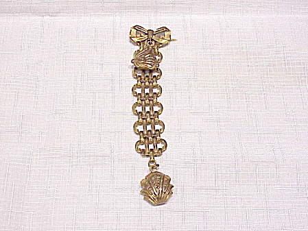 Vintage Victorian Or Edwardian Long C Clasp Dangling Charm Brooch