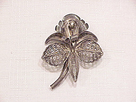 Vintage Sterling Silver Filigree Orchid Flower Brooch