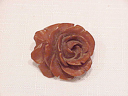 Vintage Deeply Carved Butterscotch Bakelite Rose Flower Brooch