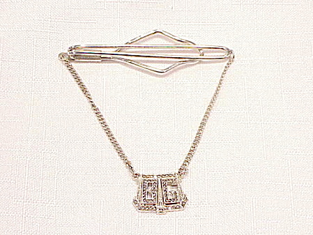 Art Deco Sterling Silver Marcasite Tie Clasp Clip With Initials B G